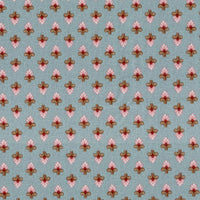 Emma Grace Damask Blue Red Rooster Fabric