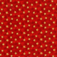 Gold Stars on Red Red Rooster Fabric