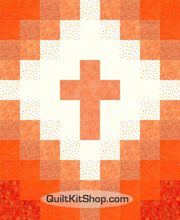 Cross Christian Orange Baby PreCut Quilt Kit