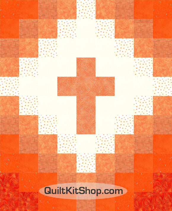 Cross Christian Orange Easy 40x49 PreCut Quilt Kit