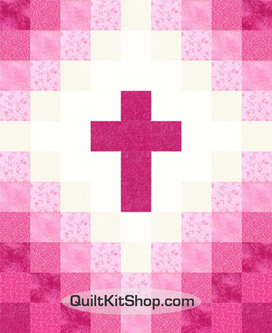 Cross Christian Pink PreCut Charm Squares Baby Quilt Kit