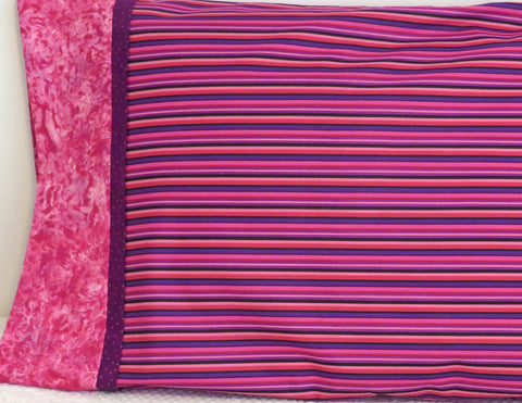 Pink Purple Stripe Bed Pillow Cover Pillowcase