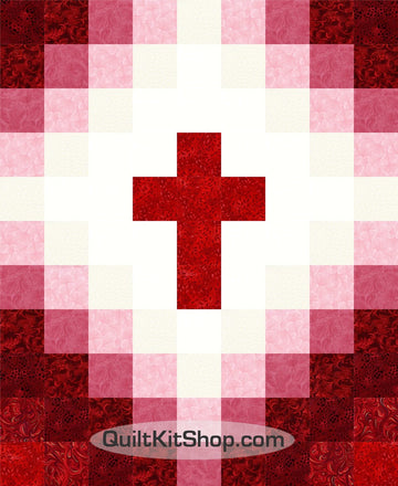 Cross Christian Red Baby PreCut Quilt Kit