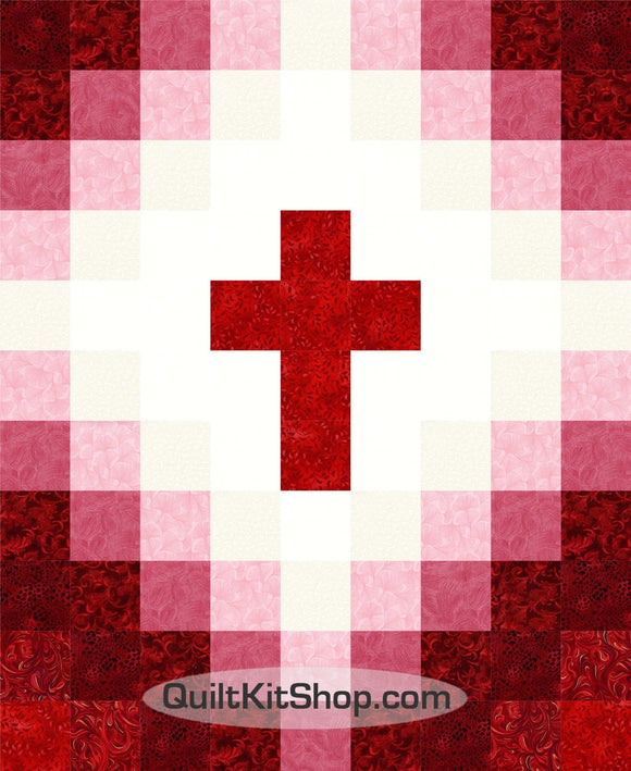 Cross Christian Red Easy 40x49 PreCut Quilt Kit