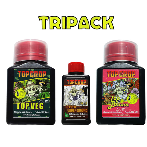 Tripack Top Crop (Enraizante 100 ml/Crecimiento 250 ml/Floracion 250 ml)