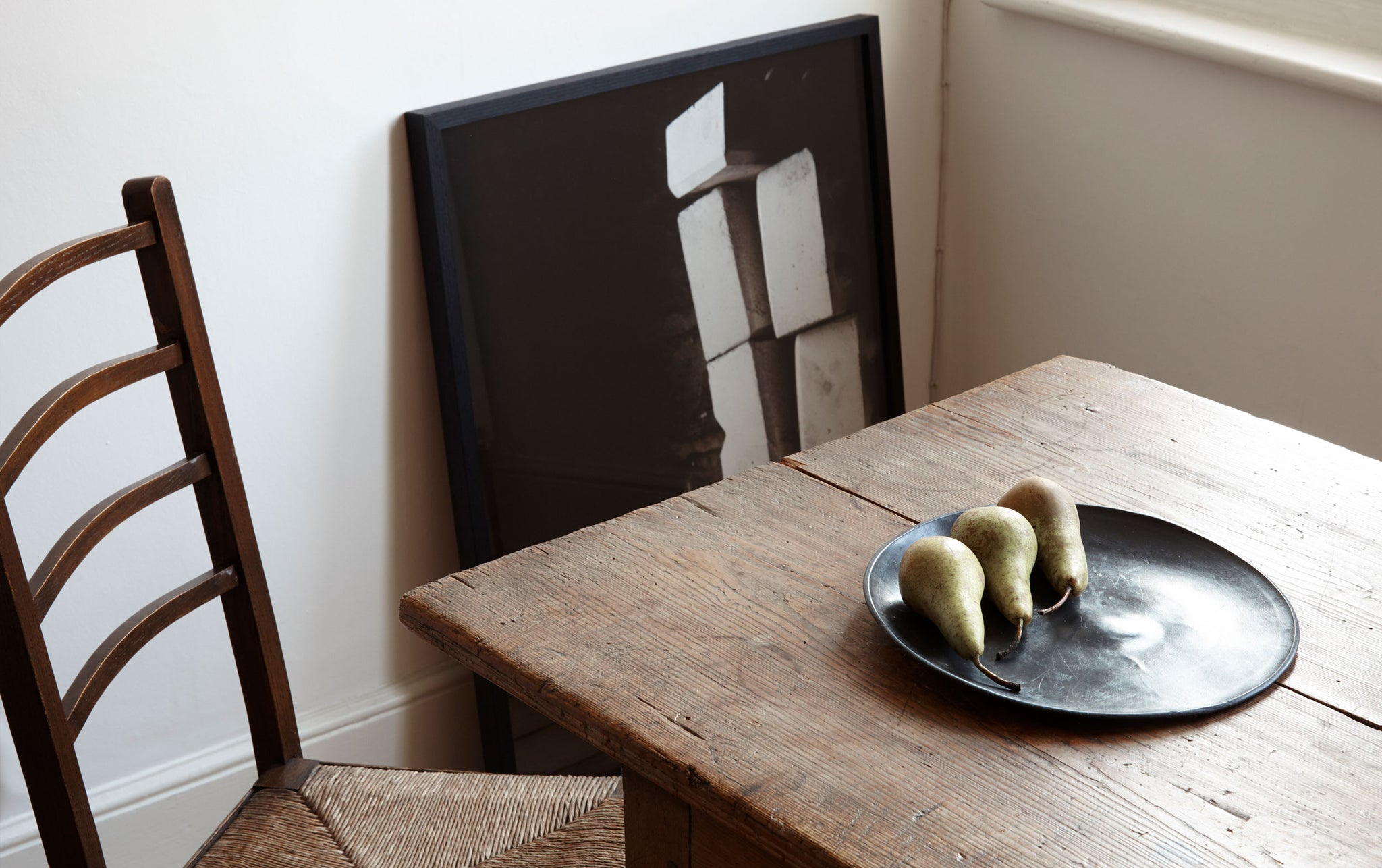 celestial table and chair with pears on a plate