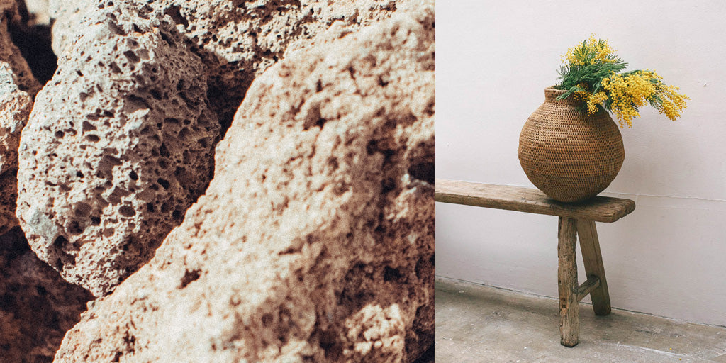 Celestial rocks and basket on a bench