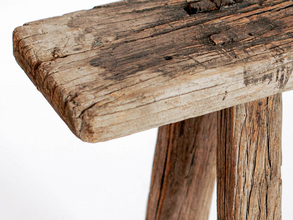 Rustic Chinese Elm Wood Bench Celestial
