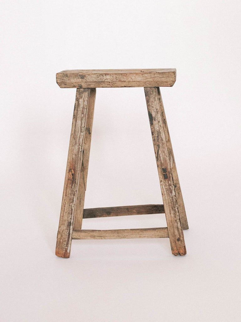 RUSTIC CHINESE ELM WOOD STOOL - Celestial - CELESTIAL - Sourced from artists in Europe, Asia and Africa, these limited edition pieces inspire a life of simplicity and style.