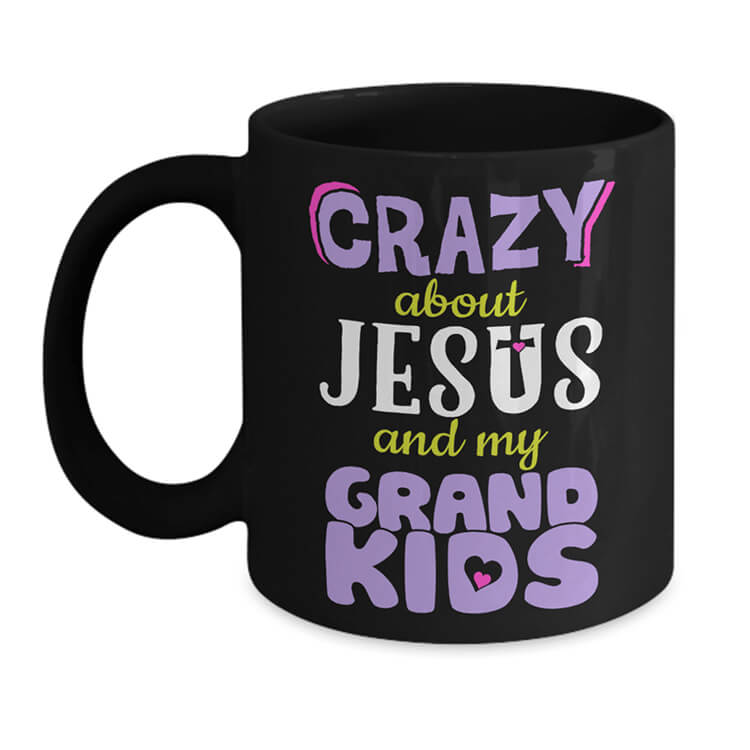 Crazy About Jesus and Grandkids Mug - Black