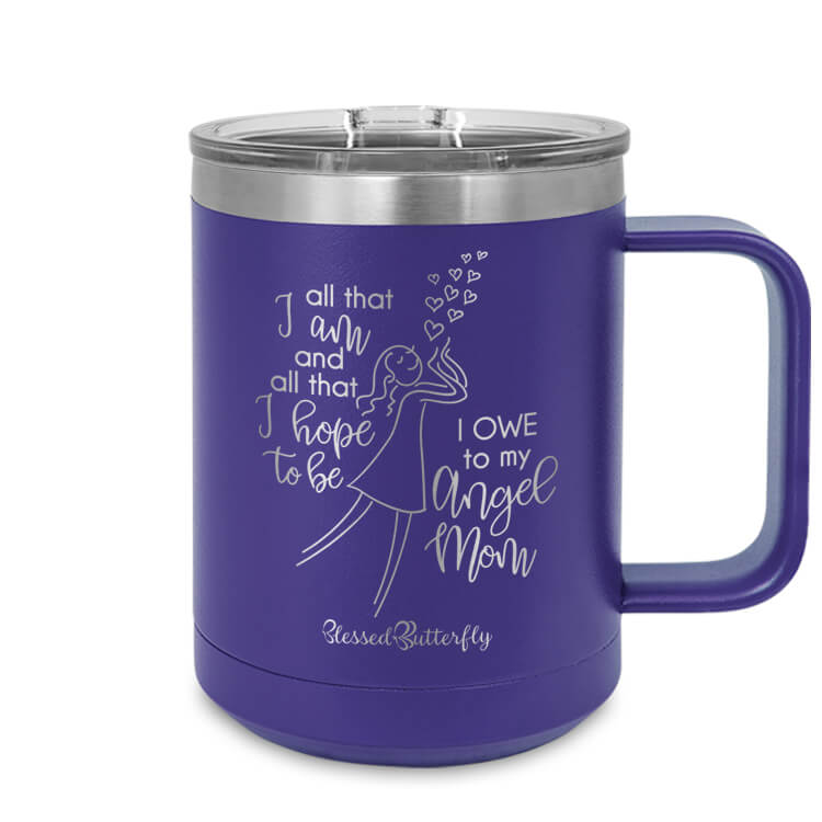 Angel Mom Etched Ringneck Mug