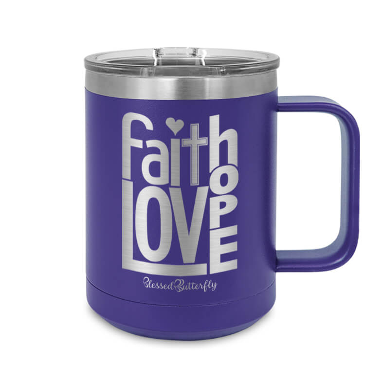 Faith Love Hope Etched Ringneck Mug