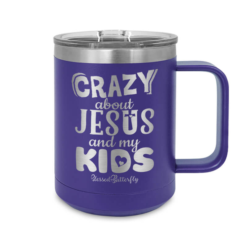 Crazy About Jesus And My Kids Etched Ringneck Mug