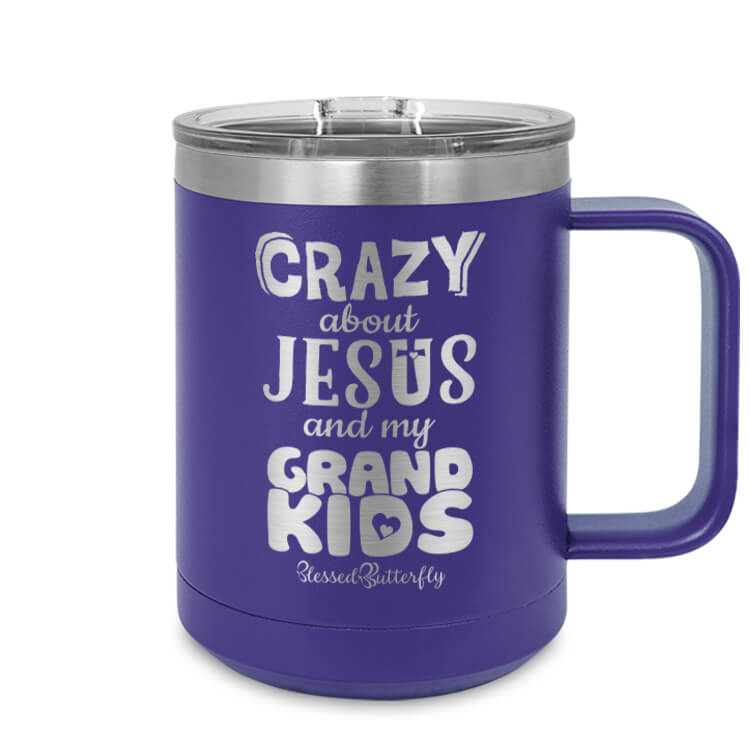 Crazy About Jesus And My Grandkids Etched Ringneck Mug
