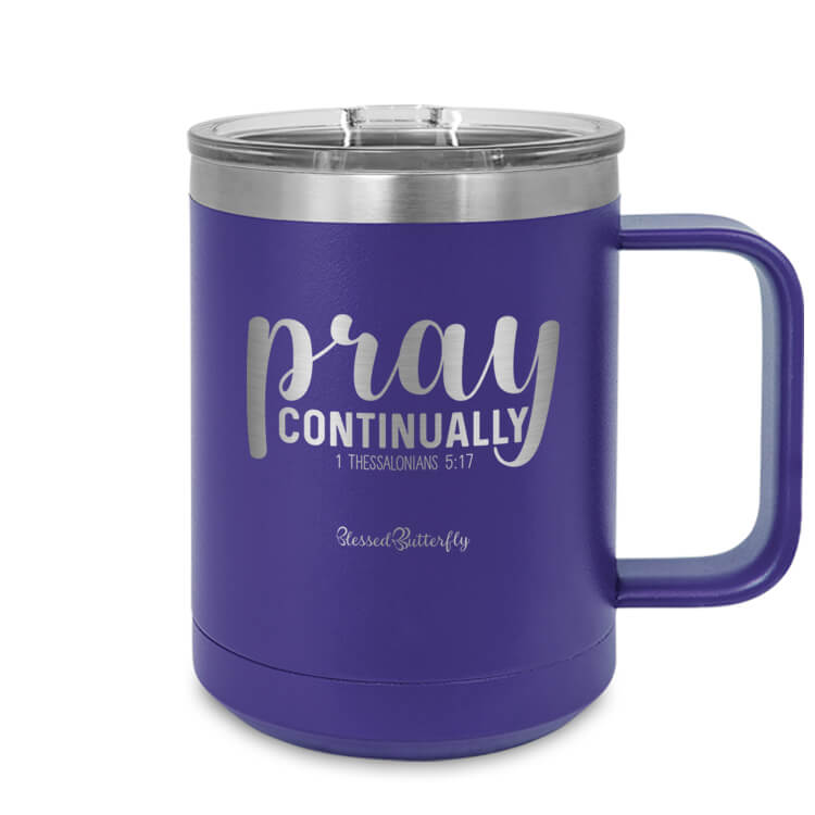 Pray Continually Etched Ringneck Mug