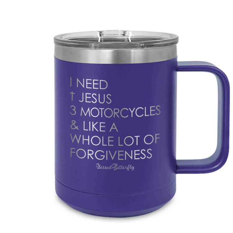 I Need Jesus And Motorcycles Etched Ringneck Mug