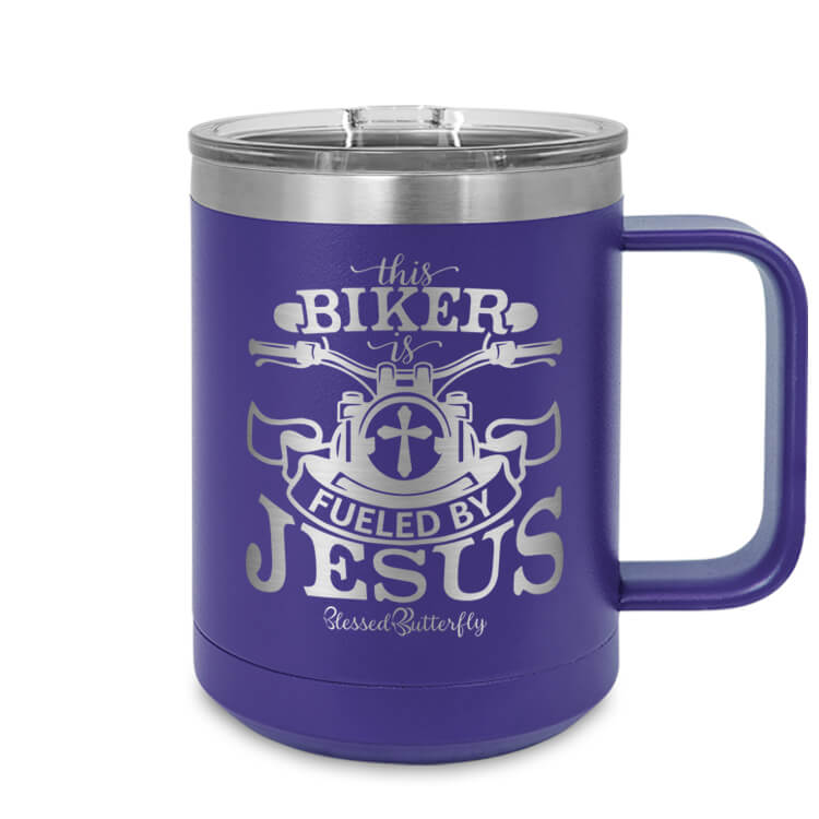 Biker Fueled By Jesus Etched Ringneck Mug