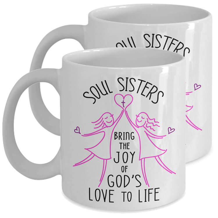 Soul Sisters Bring God's Love Mug Pair - White