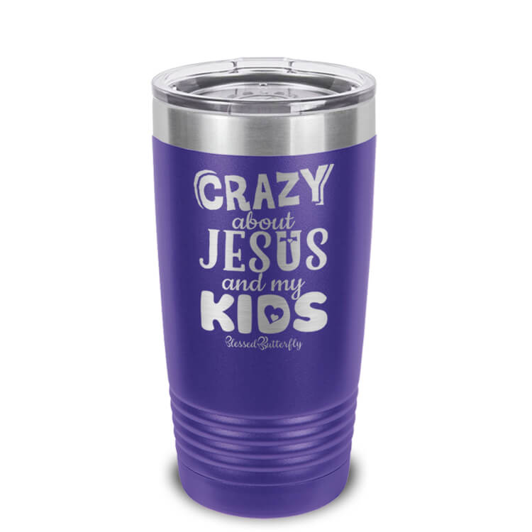 Crazy About Jesus And My Kids Etched Ringneck Tumbler