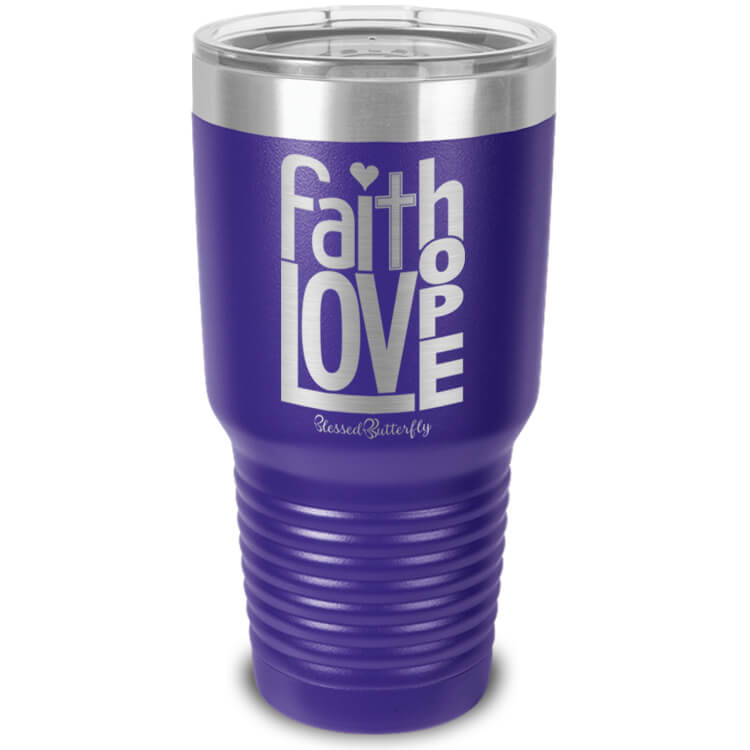 Faith Love Hope Etched Ringneck Tumbler