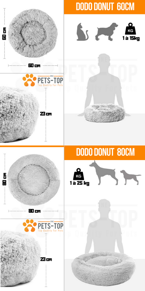guide des taille Panier chien chat dehoussable DODO Donut One PETS-TOP