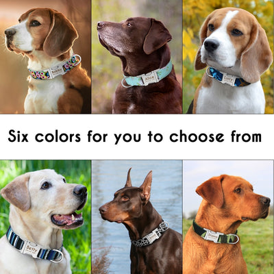 Dog Collar Personalized Nylon Pet Dog Tag Collar Custom Puppy Cat Nameplate ID Collars Adjustable For Medium Large Dogs Engraved - One PETS-TOP
