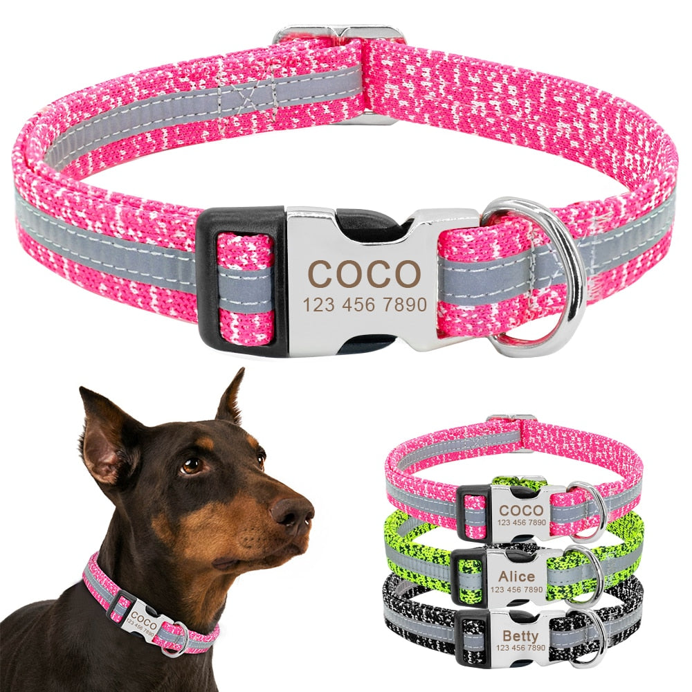 Dog Collar Personalized Reflective Dog Collars Custom Engraved Name Tag Collar Anti-lost Nylon Pet Collars For Medium Large Dogs - One PETS-TOP