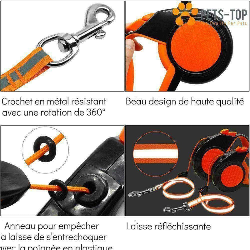 Laisse rétractable + Porte Sac Déjection - One PETS-TOP