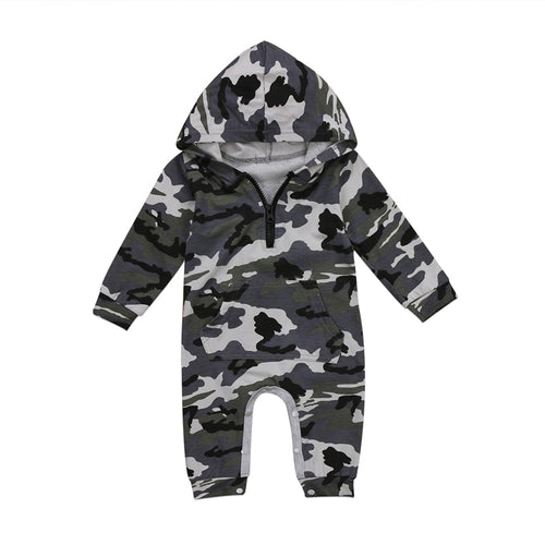 Hooded Camouflage Romper