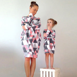 Mother and Daughter Geometric Loose Dress