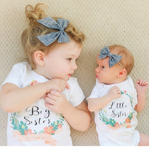 Little Sister / Big Sister Floral Wreath Matching Tops