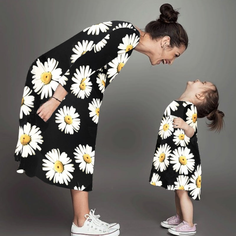 Mother & Child Chrysanthemum Printed Dress