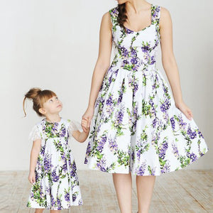Mother and Daughter Flower Printed Dress