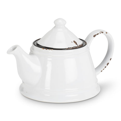 Enamel Look Teapot - White