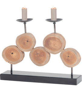 Natural Teak and Iron Candle Holder