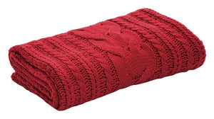 Candy Red Knitted Throw