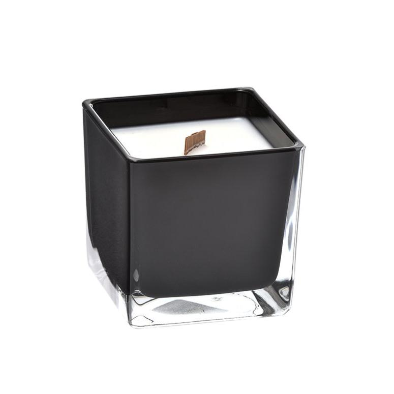 Jasmine coconut wax candle in black glass holder