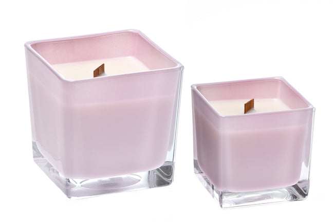 Eucalyptus coconut wax candle in pink glass holder