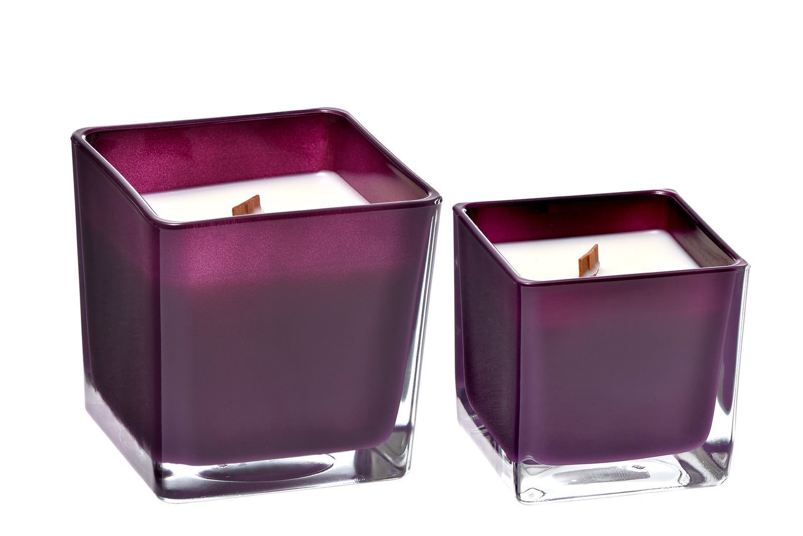 Geranium and lavender coconut wax candle in purple glass holder