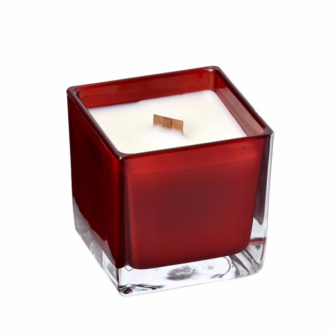 Rose coconut wax candle in red glass holder