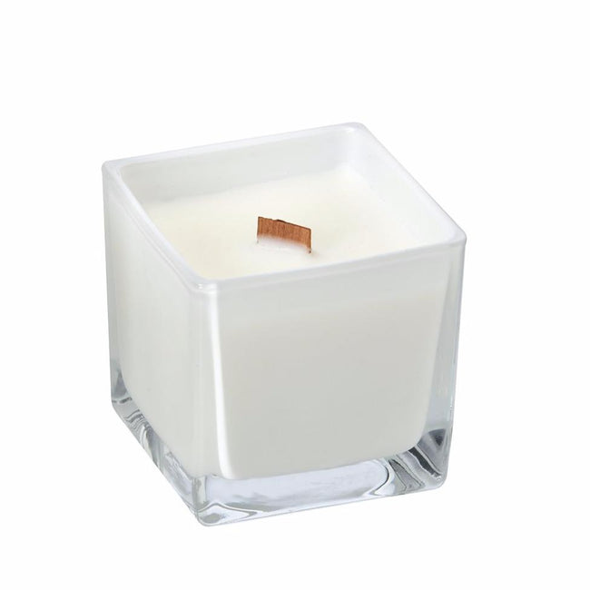 Vanilla Chai coconut wax candle in white glass holder