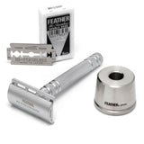 FEATHER Safety Razor + Base Stand Set