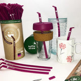 "Koffie Straw Reusable Straw 8"" Set - Plum"