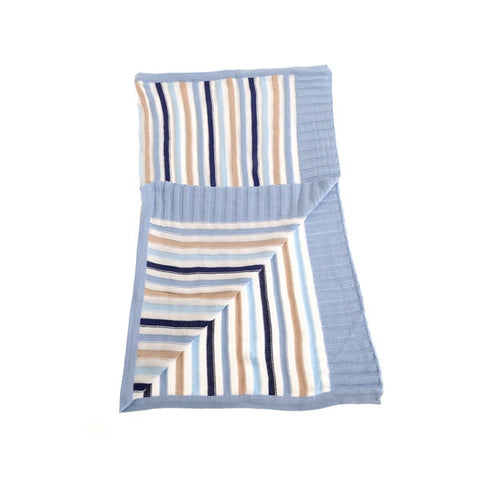 Blue & Beige Striped Blanket