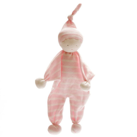 Organic Baby Buddy - Pale Pink Wide Stripe