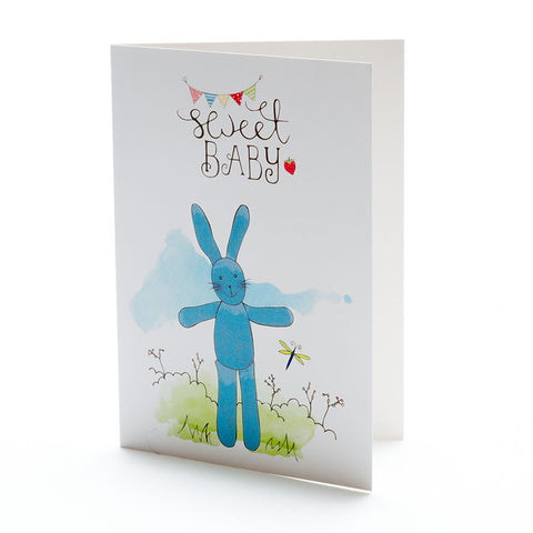 Sweet Baby Blue Bunny Card