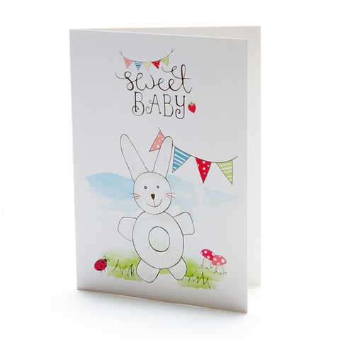 Sweet Baby White Bunny Rattle Card
