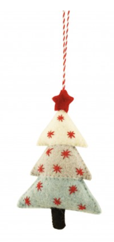 Ice Tree Christmas Decoration - Red Stars