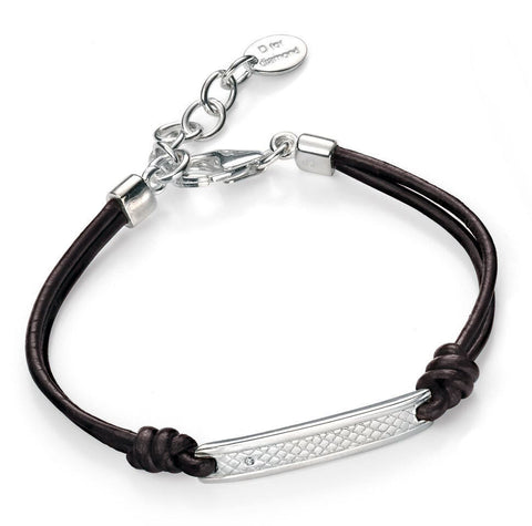 Diamond Engravable Black Leather Bracelet