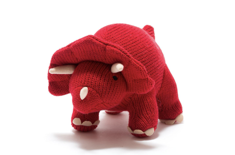 Knitted Triceratops Toy - Medium